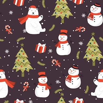 Modèle sans couture de noël avec fond de bonhomme de neige