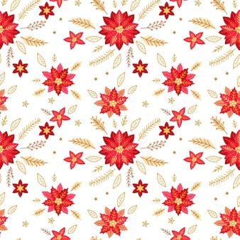 Modèle sans couture de noël avec de jolies plantes d'hiver