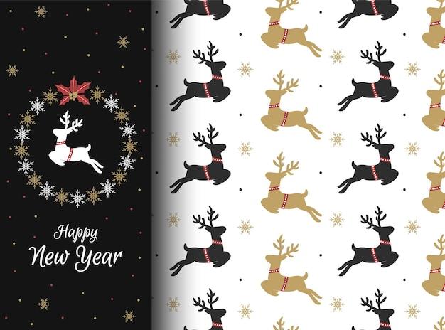 Modèle sans couture de noël avec de magnifiques cerfs et flocons de neige. fond d'écran d'hiver pour votre conception. illustration.