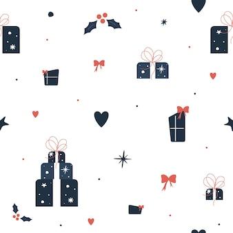 Modèle sans couture de noël minimaliste. coffret cadeau bleu foncé sur fond blanc. illustration vectorielle.