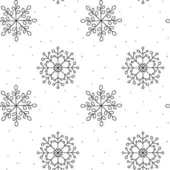 Modèle sans couture de noël. monoline flocon de neige d'hiver