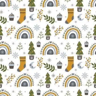 Modèle sans couture avec noël et nouvel an avec des arcs-en-ciel d'arbres de noël et des éléments d'hiver