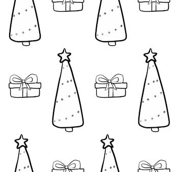 Modèle sans couture de noël de nouvel an de vecteur sur la conception d'hiver de griffonnage noir blanc impression de répétition de noël