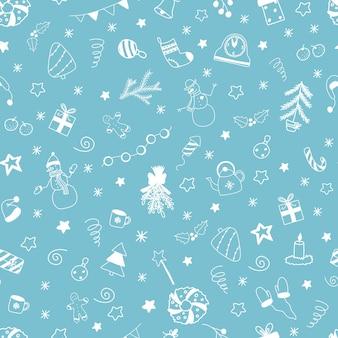 Modèle sans couture de noël et nouvel an de vecteur avec des éléments de griffonnages blancs sur fond bleu clair