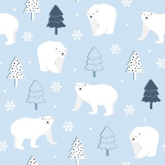 Modèle sans couture de noël avec ours polaire