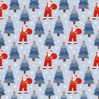 Modèle sans couture de noël avec le père noël de dessin animé marchant avec un sac de cadeaux sur fond bleu neigeux...