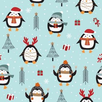 Modèle sans couture de noël avec pingouin