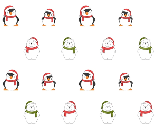 Modèle sans couture de noël avec des pingouins et des ours polaires.