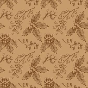 Modèle sans couture de noël avec plante. croquis,.