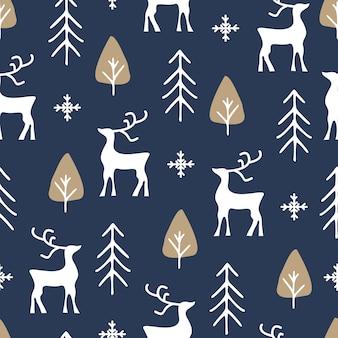 Modèle sans couture de noël avec rennes et arbre