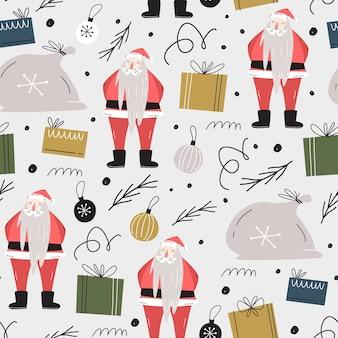 Modèle sans couture de noël. sac cadeau, père noël, cadeaux, décorations, branches d'arbres de noël.