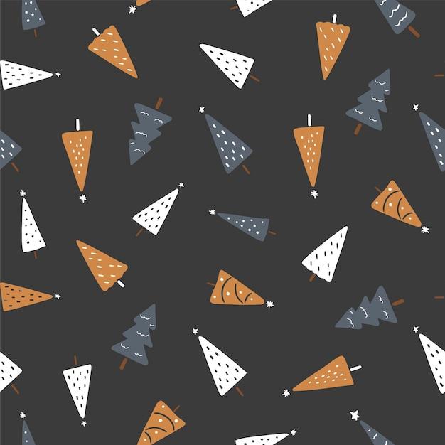 Modèle sans couture noël avec sapins colorés sur fond sombre illustration