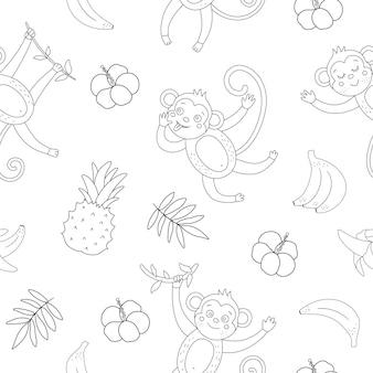 Modèle sans couture noir et blanc avec des singes mignons et des bananes.