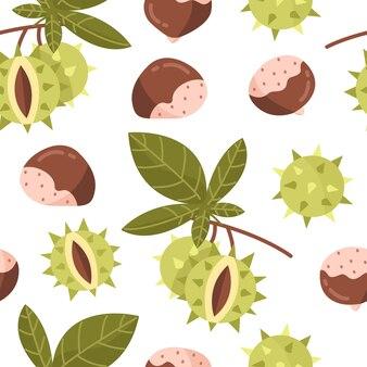 Modèle sans couture avec des noix de châtaignes avec des feuilles et des branches fond d'illustration vectorielle
