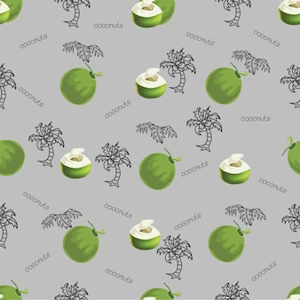 Modèle sans couture de noix de coco tropicale, illustration vectorielle. impression de noix de coco
