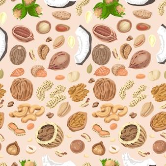 Modèle sans couture avec les noix et les graines colorées