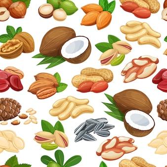 Modèle sans couture avec noix et graines. noix de cola, graines de citrouille, arachides et graines de tournesol. pistache, noix de cajou, noix de coco, noisette et macadamia. illustration.
