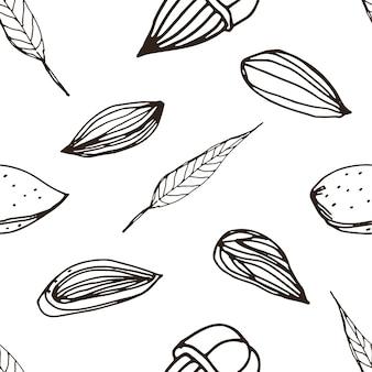 Modèle sans couture de noix, style de croquis minimal