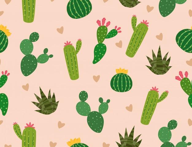 Modèle sans couture de nombreux cactus avec mini coeur