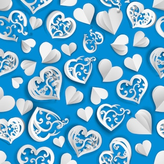 Modèle sans couture de nombreux coeurs de volume de papier avec des trous et sans, blanc sur bleu clair