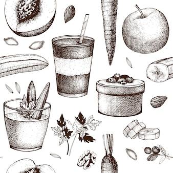 Modèle sans couture de nourriture et de boissons saines. fond d'ingrédients de recettes d'été.