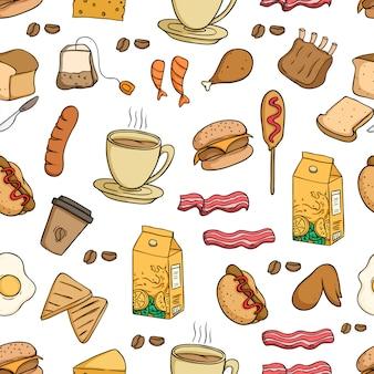 Modèle sans couture de nourriture de déjeuner