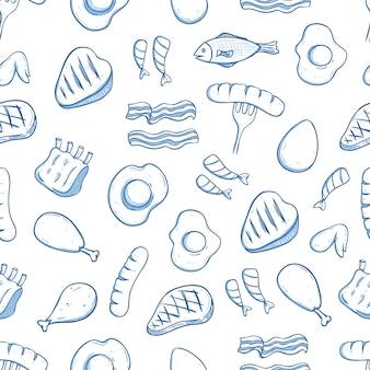 Modèle sans couture de nourriture dessiné déjeuner à la main