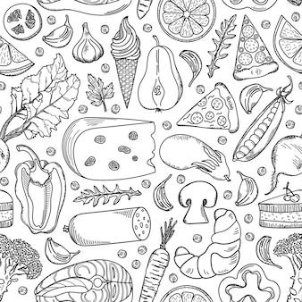 Modèle sans couture nourriture dessiné main.