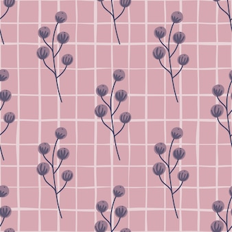 Modèle sans couture de nourriture forestière avec impression de silhouettes de baies violettes sauvages