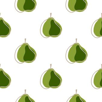 Modèle sans couture de nourriture isolée avec ornement de poire abstrait vert