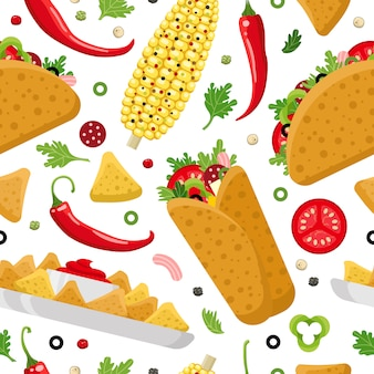 Modèle sans couture de la nourriture mexicaine