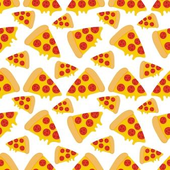 Modèle sans couture de nourriture pizza