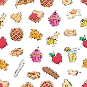 Modèle sans couture de nourriture pour le déjeuner sain avec style doodle coloré