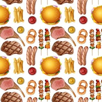 Modèle sans couture de nourriture protéinée