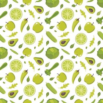 Modèle sans couture de nourriture saine verte
