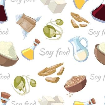 Modèle sans couture de nourriture de soja de dessin animé. poudre et pousses, tofu et bouteille