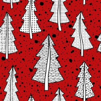 Modèle sans couture de nouveaux arbres de noël, fond de vecteur sur un thème d'hiver