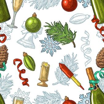 Modèle sans couture nouvel an. lettrage de calligraphie avec salut. verre à champagne, bouteille, serpentine, fusée, flocon de neige, pomme de pin, jouet, branche de sapin. illustration vintage de vecteur sur fond blanc