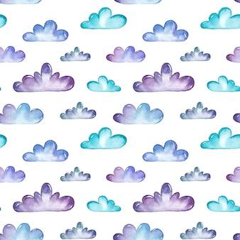 Modèle sans couture de nuages aquarelle
