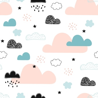 Modèle sans couture avec des nuages dans le ciel.