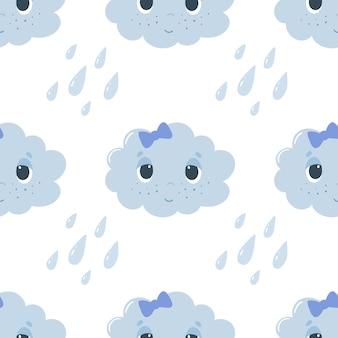 Modèle sans couture avec nuages et gouttes de dessin animé