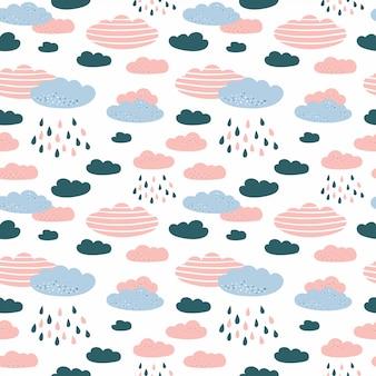 Modèle sans couture avec nuages et pluie dans le ciel.