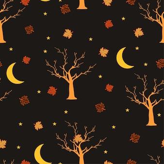 Modèle sans couture nuit d'halloween