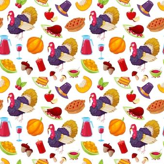 Modèle sans couture avec objet de dessin animé coloré pour le jour de thanksgiving sur fond blanc.