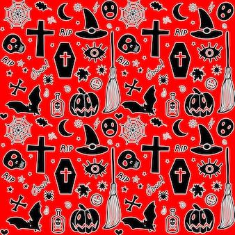 Modèle sans couture avec des objets d'halloween citrouille, chauve-souris, cercueil, balai, etc.
