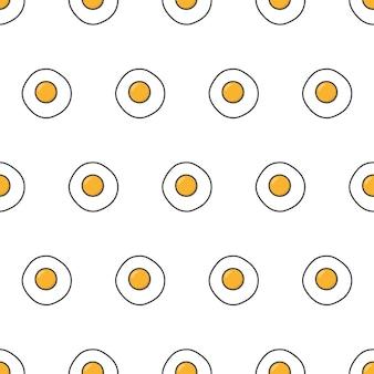 Modèle sans couture d'oeufs au plat. omelette oeuf thème illustration