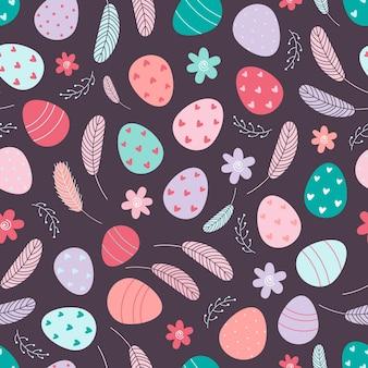 Modèle sans couture d'oeufs de pâques décorés