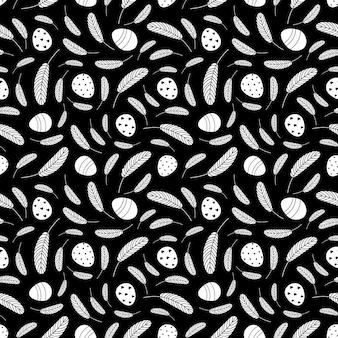 Modèle sans couture d'oeufs de pâques noir et blanc