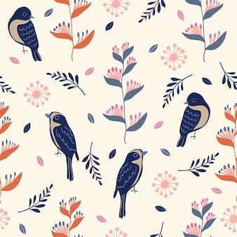 Modèle sans couture oiseau et fleur