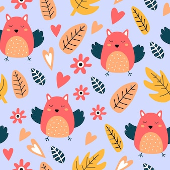 Modèle sans couture avec oiseau mignon; feuilles. parfait pour le tissu des enfants; textile; papier peint chambre d'enfant